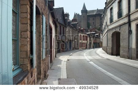 City street view of Vitre in Brittany France