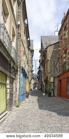 Street scene of Vitre in Brittany France