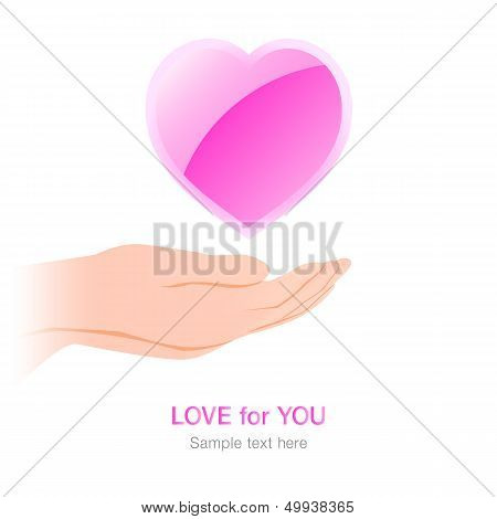 Hands under pink heart with love