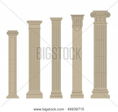 set of greece column and pilasters eps10 vector poster