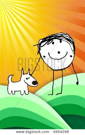 Colorful Kid With His Dog Illustration