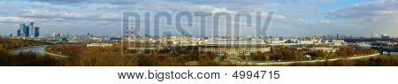 Wide panorama of Moscow from Vorob'evi hill poster