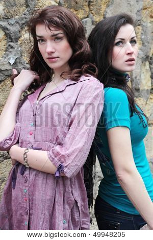 Two Pretty Fashionable Girl Outdoor