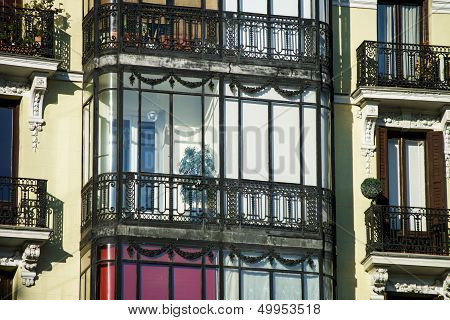 Elegant balcony in center of old city Madrid Spain poster