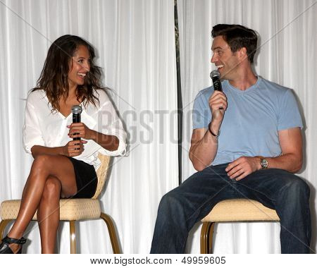 LOS ANGELES - AUG 25:  Christel Khalil, Daniel Goddard at the Goddard and Khalil Fan Event at the Universal Sheraton Hotel on August 25, 2013 in Los Angeles, CA