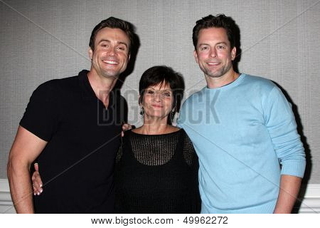 LOS ANGELES - AUG 24:  Daniel Goddard, Jill Farren Phelps, Michael Muhney at the Young & Restless Fan Club Dinner at the Universal Sheraton Hotel on August 24, 2013 in Los Angeles, CA