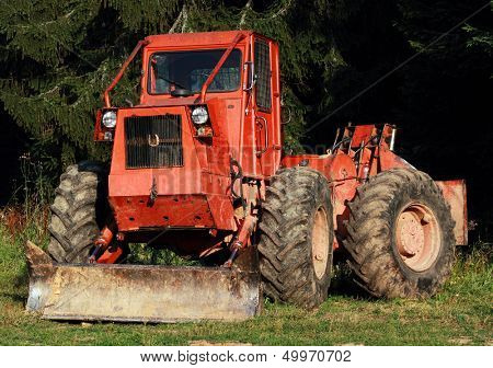 Heavy Tractor in the forest
