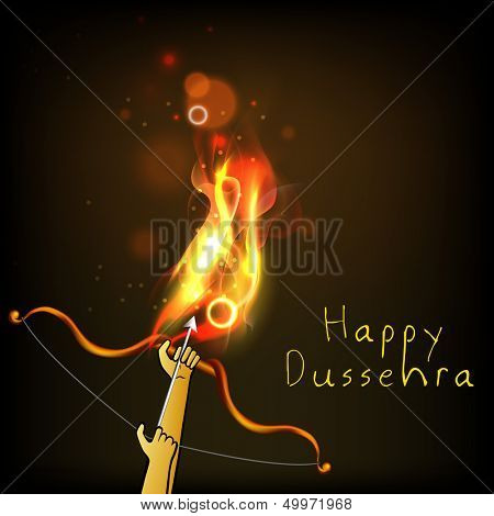 Indian festival Happy Dussehra background with bow and arrow in fire. poster