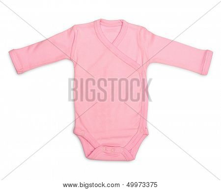 Newborn baby girl's pink romper isolated on white