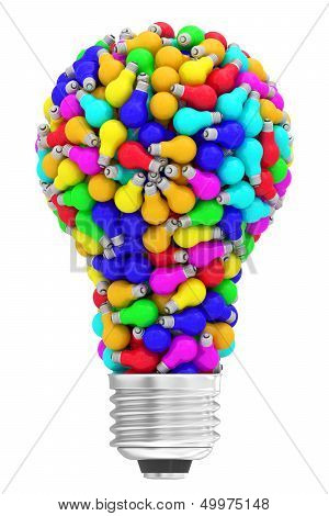 Lightbulb Shape Composed Of Many Colorful Small Lightbulbs Isolated On White