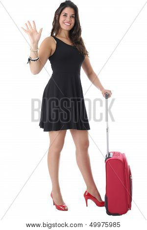 Young Woman With Suitcase Waving