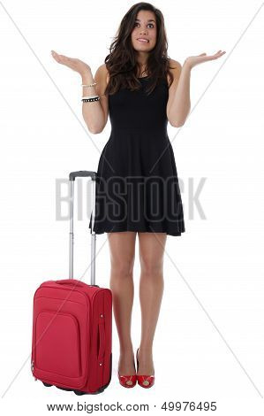 Young Woman Waiting With a Red Suitcase