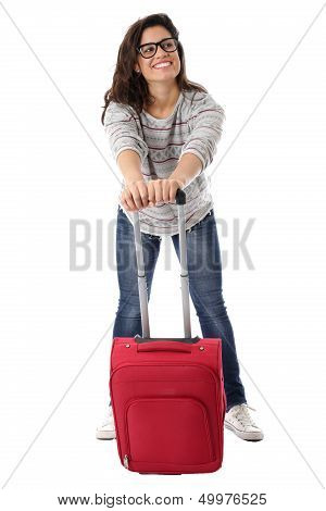 Happy Young Woman With a Red Suitcase