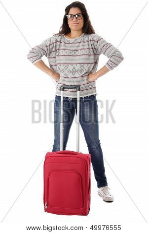 Woman Waiting With a Red Suitcase