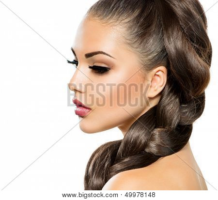 Hair Braid. Beautiful Woman with Healthy Long Hair. Hairdressing. Hairstyle. Beauty Makeup. Fashion Model Girl Portrait isolated on a White Background poster