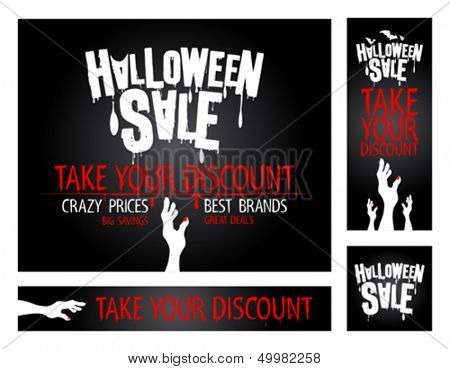 Halloween sale banners collection.