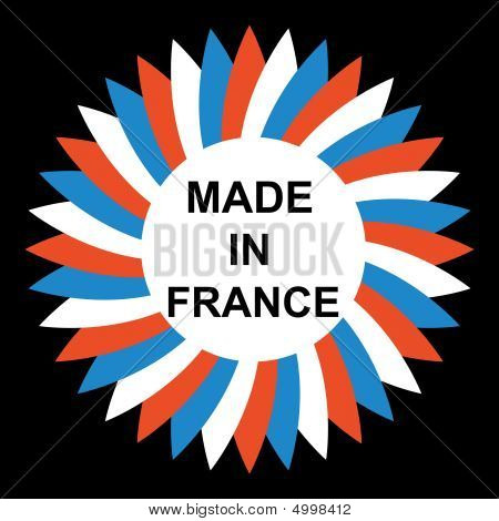 Flower with white red and blue petals with inscription Made in France poster