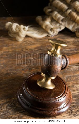 Judge's horsehair wig and his gavel or hammer