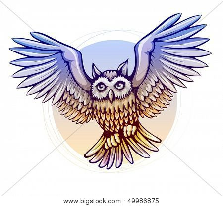flying cartoon owl bird with color wings - eps10 vector illustration