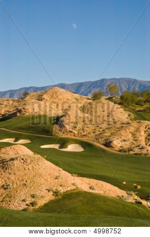 Desert Golf Course With Day Moon