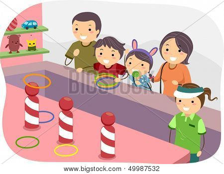 Illustration of a Stickman Family Playing Ring Toss