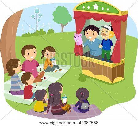 Illustration of a Stickman Family Watching a Puppet Show