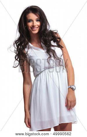 portrait of a young beautiful woman smiling for the camera. isolated on a white background