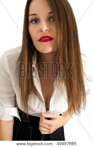 Sexy Woman With Red Lips