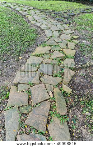 Stone Pathway In The Garden.