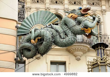 Chinese Dragon at Casa Bruno Quadros in Barcelona Spain poster
