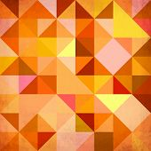 Abstract triangles geometry orange grunge vector background poster