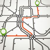 Abstract metro scheme with the selected path poster