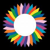 Catherine wheel colorful with white center for writing or image poster