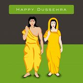 Indian festival Happy Dussehra background with white silhouette of Hindu community Lord Rama with his wife Sita. poster