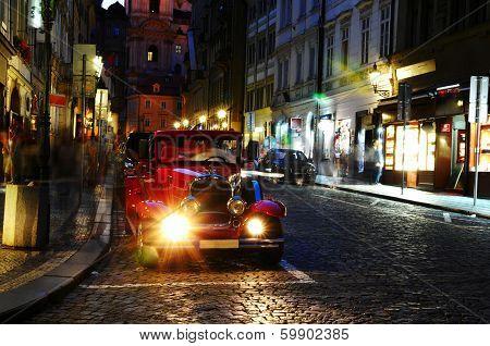 retro car in the night