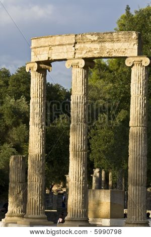 The Philippeion building remains at ancient archaeological site in Greece poster