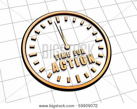 Time For Action In Golden Clock Symbol