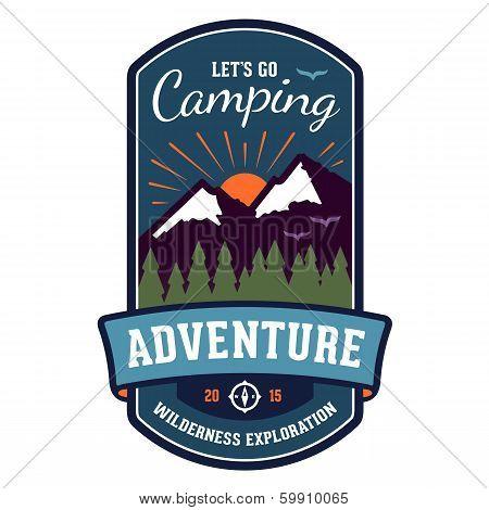 Camping Adventure Badge Emblem