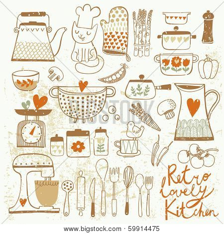 Vintage kitchen set in vector. Stylish design elements: pepper-box, fork, spoon, bowl, pan, mixer, scales, colander, knife and others