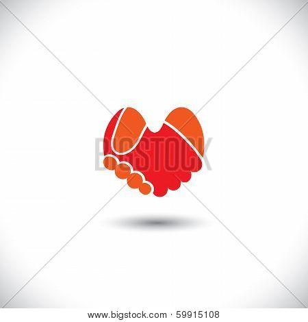 Love Vector - Heart Shaped Handshake Icon Of Boy & Girl.