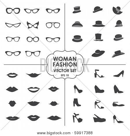Woman Fashion Set vector - icons, glasses, hats, shoes, lips - Collection of icons can be used in web design, mobile applications, photobooth. eps 10