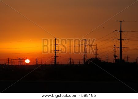 Sunset With Power Lines