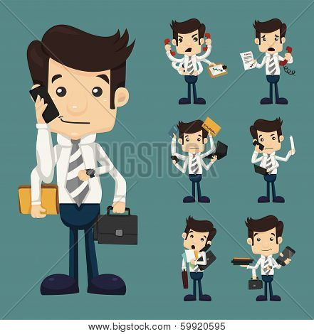 Set Of Businessman With Many Hands In Elegant Suit Working Hold Notepad Clipboard, Cell Phone, Paper