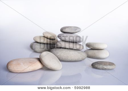 Pebble. Various stones with reflection.