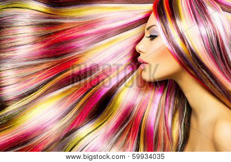 Beauty Fashion Model Girl with Colorful Dyed Hair. Colourful Long Hair. Portrait of a Beautiful Girl with Dyed Hair, professional hair Coloring. Colouring hair