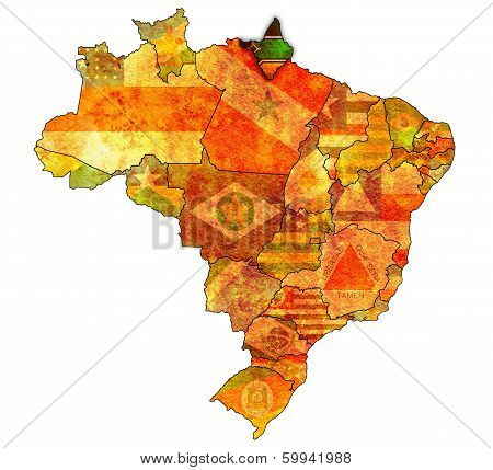 amapa state on admistration map of brazil with flags poster