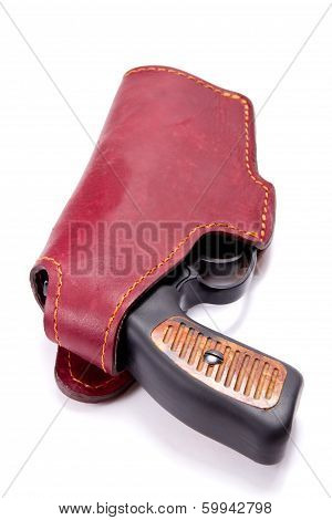 Handgun In A Leather Holster
