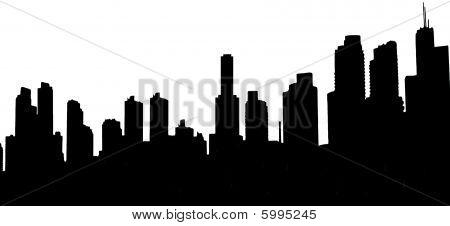 Современный город на фоне линии горизонта.