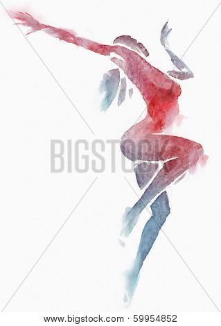 Naked Modern Dancer Red-blue Watercolor On White