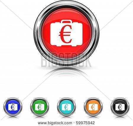 Euro Bag Icon - Six Colors Vector Set